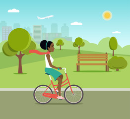 Afro american woman riding a bicycle in park. Vector flat illustration.