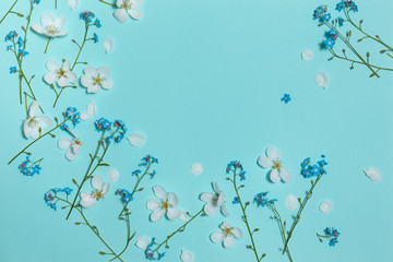 Spring aqua blue background with white blooming apple and forget-me-not flowers, close-up top view, horizontal composition, top flat view with empty place for text