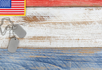 Red, white, and blue small American flag for Memorial Day or Veterans day background