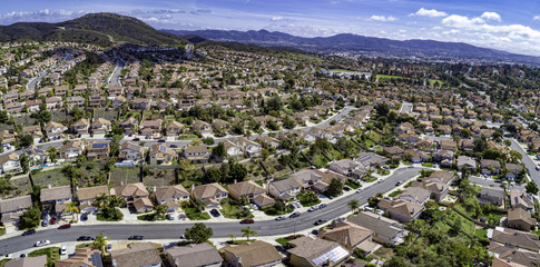 Lots of tract housing and planned communities in San Diego, California. This is an aerial pano of Santa Fe Hills in the San Marcos area of North County San Diego, CA, USA.