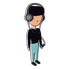 avatar man listening music with headphones over white background, colorful design. vector illustration