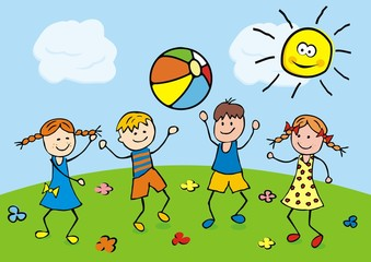 Happy kids play with a balloon on the meadow. Vector illustration.