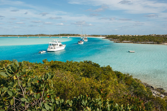 A lineup of cruising boats at Warderick Wells in the Bahamas.