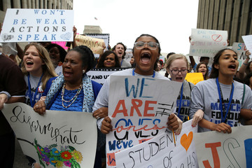 "U.S. Rep. Sheila Jackson Lee and student organizers lead the ""March for Our Lives"", an organized demonstration to end gun violence, in downtown Houston"