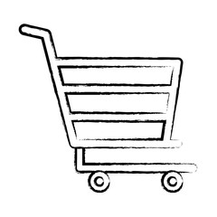 sketch of shopping cart icon over white background, vector illustration
