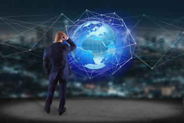 Businessman in front of a wall with a Connected network over a earth globe concept on a futuristic interface - 3d rendering