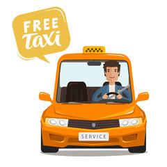 Free taxi, concept. Happy driver rides a car. Cartoon vector illustration