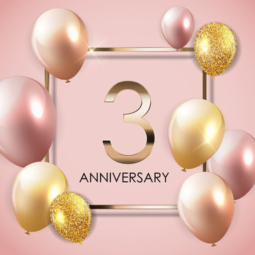 Template 3 Years Anniversary Background with Balloons Vector Illustration