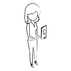 sketch of avatar woman standing and using the cellphone over white background, vector illustration