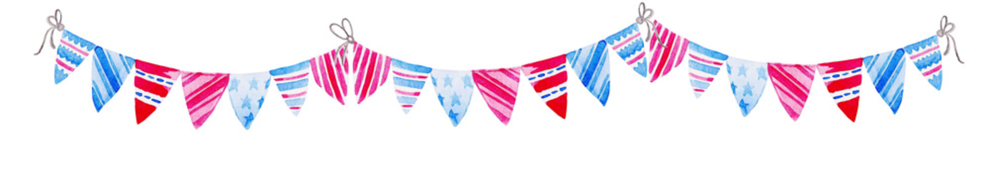Illustration for 4th of July. Watercolor Bunting Flags. Celebration of American Independence Day