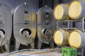 Wine steel tanks and wine barrels