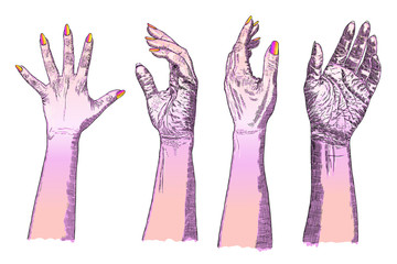 Woman gestures of hands on a white background set. Hand drawn. Vector.