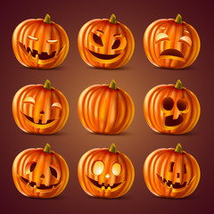 Set of vector 3d Halloween pumpkins head jack lantern. Collection emotions face icon for holiday design