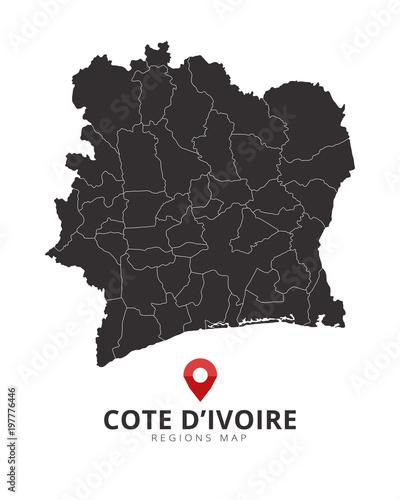 Code D\'Ivoire. Ivory Coast map\