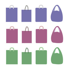 vector drawings paper and polyethylene pink blue green bags with handles isolated on white background