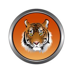 Circular, metallic tiger (head) icon. Orange gradient. Isolated on white