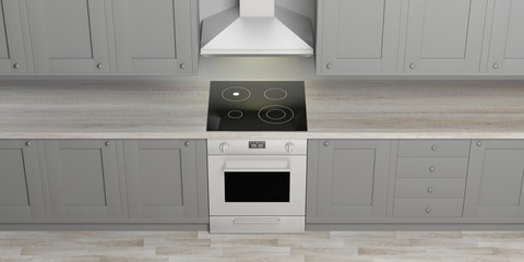 Kitchen cabinets and eletric oven with ceramic hob, wooden floor, view from above. 3d illustration
