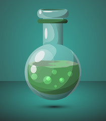 A test tube with a green liquid. For design in games. High speed poison. Vector