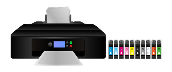 Vector illustration of home digital inkjet printer with cmyk and other inks for a larger gamut