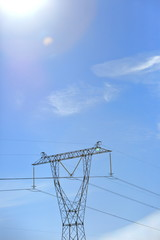 High voltage electric pole set as one of many on the entire length of the eclectic line.