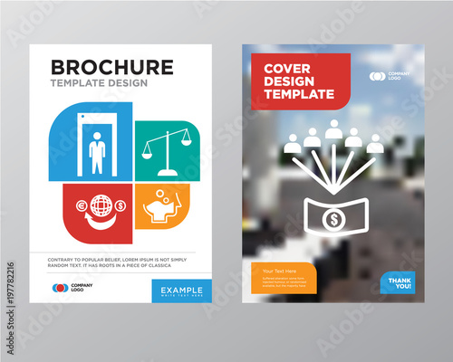 employee benefits brochure flyer design template with abstract photo