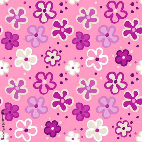 Cute seamless pattern with cartoon flowers on a pink background cute seamless pattern with cartoon flowers on a pink background vector seamless floral texture mightylinksfo
