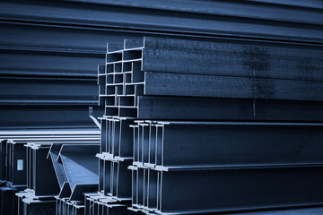 Steel factory floor, stacked with a lot of steel Wall mural