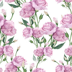 Eustoma - flowers and buds. Collage of flowers, leaves and buds on a watercolor background. Decorative composition on a watercolor background. Seamless pattern.