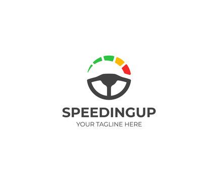 Steering Wheel and speedometer logo template. Driving school vector design. Tachometer logotype