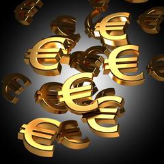 euro symbol golden bold letters 3d rendering