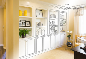 Custom Built-in Shelves and Cabinets Design Drawing Gradating to Finished Photo