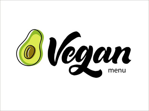 Vegan logotype. Handwriting calligraphy lettering with avocado vector illustration. Modern trendy brush pen hand drawn style logo. Graphic simple and clean inscription for menu, store, cafe, food. Eps