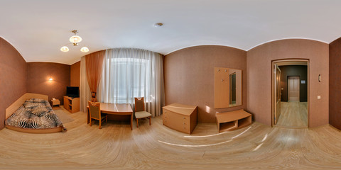 Panorama 360 angle view in small guest room hotel in dark style color. Full 360 by 180 degrees seamless equirectangular equidistant spherical panorama. vr ar content