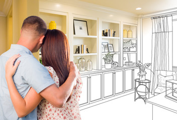 Young Military Couple Facing Custom Built-in Shelves and Cabinets Design Drawing Gradating to Finished Photo