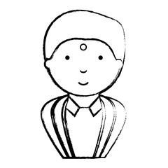 sketch of Hindu man with  traditional costume over white background, vector illustration
