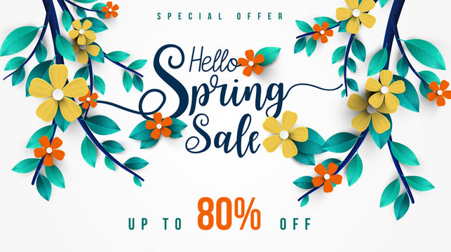 Spring Sale Banner with green leaf and colorful flowers. Vector Design for your greetings card, flyers,  web banner , invitation, posters, brochure, banners, calendar, spring sale.