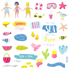 Summer Beach Vacation Childish Elements Set with Kids, Fish and Bird. Cute Decoration with Sea Creatures for Fabric, Decor, Wallpaper, Wrapping Paper. Vector illustration