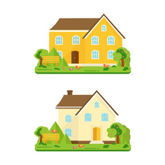 Abstract spring background with cozy home, house, cottage, with trees, flowers, bench