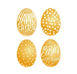 Set of golden eggs. Happy Easter and easter hunt lettering in egg. Vector isolated handwritten Inscription. Brush pen modern style