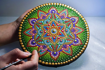 beautiful mandala painted with a brush