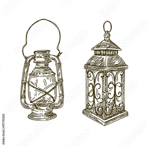 Old Lanterns Engraving Style Sketch Vector Illustration
