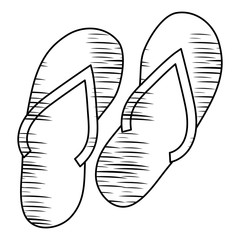 sketch of beach sandals icon over white background, vector illustration