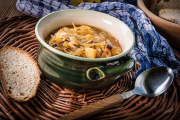 Traditional russian sour cabbage soup.