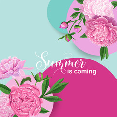 Hello Summer Floral Design with Pink Peony Flowers. Botanical Background for Poster, Banner, Wedding Invitation, Greeting Card. Vector illustration