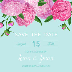 Floral Wedding Invitation or Congratulation Card. Save the Date Blooming Peony Flowers Card. Spring Botanical Design for Ceremony Decoration. Vector illustration