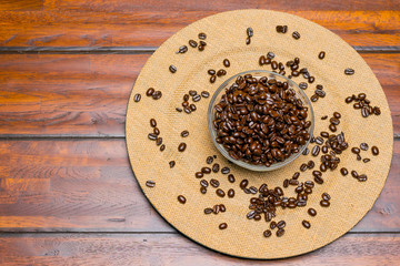 A plate of whole Coffee Beans