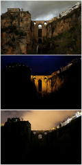"""A combination photo shows the """"Puente Nuevo"""" (New Bridge) in the daytime, at night and during Earth Hour in Ronda"""