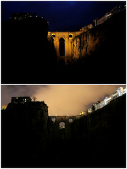 """A combination photo shows the """"Puente Nuevo"""" (New Bridge) at night and during Earth Hour in Ronda"""