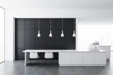 White kitchen, dark wooden cupboard