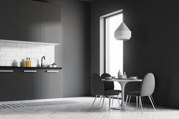 Dark gray kitchen corner, table